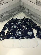 Roman Blouse Size 18 Lightweight Long Sleeve Collared Navy Floral