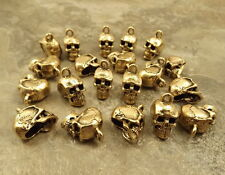 20 Gold Tone Pewter Skull Charms -5243