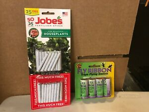 Jobes Houseplant Plant Food Spikes 13-4-5 50 Pack & 4 PIC FLY RIBBONS NEW #2367