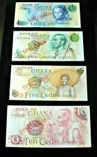 New listing  Bank of GHANA 1978  1/2/5/10 CEDIS SPECIMEN Banknotes Uncirculated SET(618)