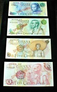 Bank of GHANA 1978  1/2/5/10 CEDIS SPECIMEN Banknotes Uncirculated SET(618)
