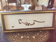"Original Joyce Stone Siamese Cat Kitten w Ladybug Bug Painting 5"" x 13"" Framed"