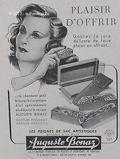 PUBLICITE AUGUSTE BONAZ ETUI LES PEIGNES DE SAC POUR CHEUVEUX DE 1947 FRENCH AD