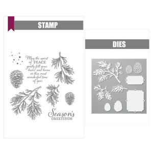 PEACEFUL BOUGHS Set Metal Cutting Dies and Stamps For Scrapbooking