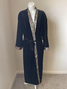 Fredericks of Hollywood Women's Black Velvet and Leopord Print Robe s S/M