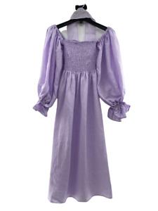 The Sleeper Women's Atlanta Linen Lounge Dress Lavender Smocked Body Size S $320
