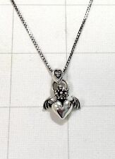 """925 Sterling Silver Angel Heart Wing Crown Claddagh Pendant 20"""" Necklace Solid"""