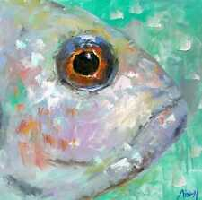 100%Hand-painted Art knife Oil Painting Abstract Animal Fish no frame 16*16inch