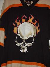Biker Design Collection  Skull on Fire T-Shirt Size Med