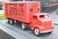 Tonka Ford COE (Cab Over Engine) Livestock Semi Truck - Pressed Steel - 1953