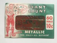 Vintage 1940-1950s Unopened Package of Holiday Metallic Foil Seals