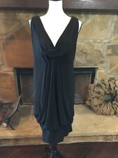 Lane Bryant Tank Black Dress Plus Sz 18/20 Drape Cocktail Sheath Balloon Bubble