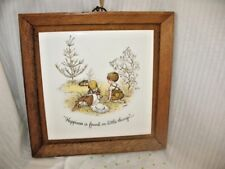 Vintage Holly Hobbie Tile Wood Frame Country Boy & Girl with Bunnies Japan ~ 1L7
