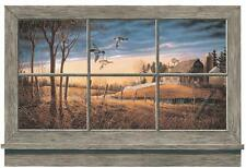 Wallpaper Mural Rustic Window Lodge Look Ducks Barn Farm House on River