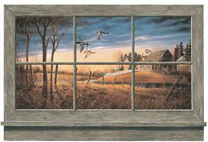 Wallpaper Mural Rustic Window Lodge Look Ducks Barn Farm House on River