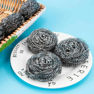 Scourer Stainless Steel Kitchen Washing Up Mesh Wire Cleaning Grease Metal Pads