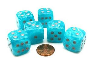 Cirrus 20mm Big D6 Chessex Dice, 6 Pieces - Aqua with Silver Pips