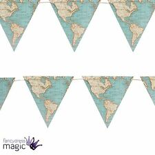 *Sass & Belle Vintage Paper Map 3m Bunting 9 Flag Garland Decoration Retro Home*