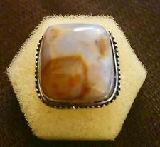Sophisticated Sugared Picture Jasper Cabochon Handmade Ring Size 8.5