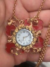 Flower necklace pendant pocket watch