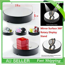 18cm Spinning Rotating Display Stand Turntable Mirror Surface 360° 3D Black