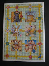 1996 Vintage Mary Engelbreit Partial Stationery Folio set Cute Animals, Buttons