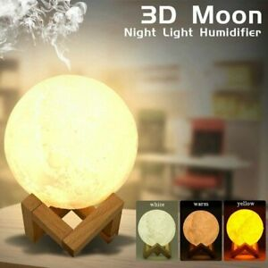 Air Humidifier 3D Moon Lamp Night light Aroma Diffuser USB Home Purifier 880ml