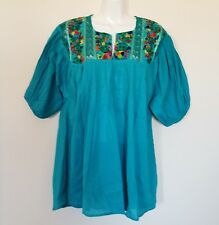 Mexican Womens Blouse Sz M/L Green Peasant Embroidered Bohemian Hippie Top