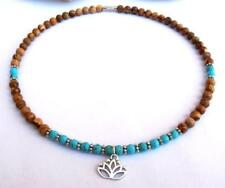 Natural turquoise mala bracelet yoga pendant prayer necklace picture stone