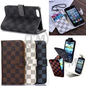 Designer Checkered Monogram Luxury Leather Flip Wallet book case covers