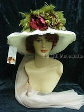 Downton Abbey Edwardian Victorian style Elsie Massey ivory and wine Hat
