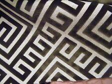 New listing Greek Key Dark Brown Cut Velvet on Linen Fabric 57 inches wide 2 Yards