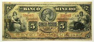 1914 Mexico Banco Minero Chihuahua 5 Pesos P163a S50 Series #11362