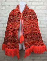 1970s Vintage Orange Black Knit Cape Boho Guatemala Hippie Poncho Sweater Jacket