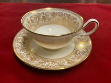 Wedgwood Cup & Saucer Set W4219 Gold Florentine Dragons on White Free Shipping