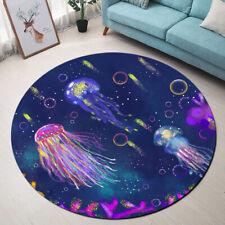Watercolor Jellyfish Pattern Area Rug Bedroom Carpet Living Room Round Floor Mat