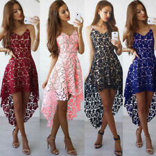 Womens Lace Short Mini Dress Bridesmaid Wedding Evening Tunic Party Prom Gown