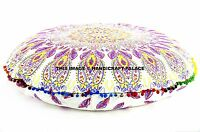 INDIAN OMBRE MANDALA FLOOR CUSHION DECORATIVE LARGE ROUND PILLOW SEATING COVER