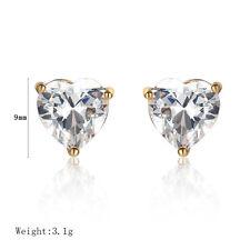 Womens earings Cute Heart crystal yellow gold filled retro small stud earrings