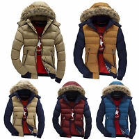 Mens Winter Warm Trench Coat Fur Hooded Parka Overcoat Padded Quilted Jacket Top