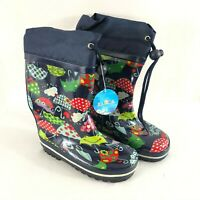 Toddler Boys Girls Rain Boots Rubber Umbrellas Frogs Fleece Lined Navy Blue US 8