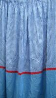 Blue & White Gingham Dunelm Lined Light Curtains Red Trim 66''w x 54''d