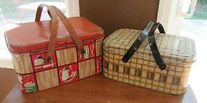 2 - Vintage Metal Decoware Picnic Baskets Wooden Handle Basketweave