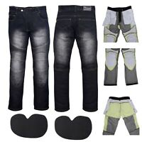 Denim Motorcycle Motorbike Pants Trousers Jeans With Protection Lining Black