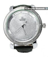 mens diamond silver tone business clubbing watch bling dial black leather strap