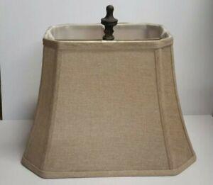 Rectangle Bell Lamp Shade Cut Corner Square Beige Tan Burlap Fabric Softback