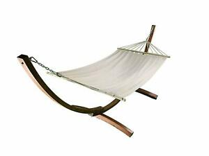 12 Ft Water Treated Wooden Arc Hammock Stand with Beige Hammock bed ( USED )