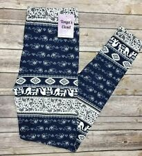 PLUS Size Elephant Tribal Aztec Leggings Butter Soft Blue White Curvy 10-18