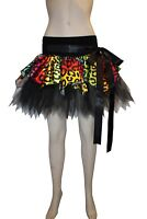 Multi Leopard Pointed Satin Tutu Skirt With Belt Bow Waistband Party Rave Club