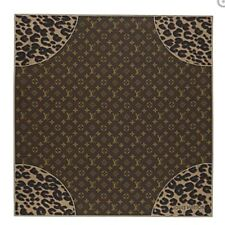 LOUIS VUITTON LV Scarf Stole Carre Monogram Leopard Silk M72124 Auth New 28""